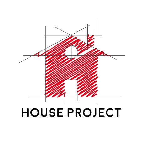 Vecteur signe maison projet