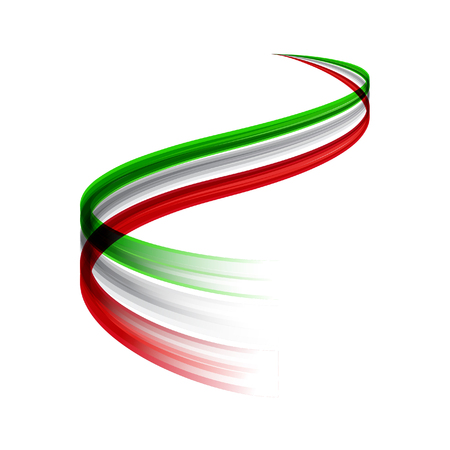 Abstract vector wake moving, dynamic italian flag concept