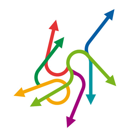 dynamic growth: Vector colored arrows background