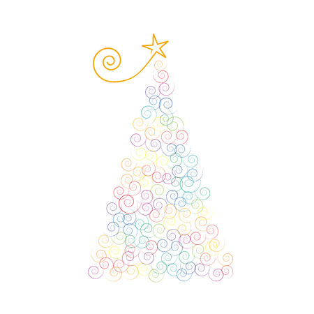 curls: Vector Christmas tree with curls