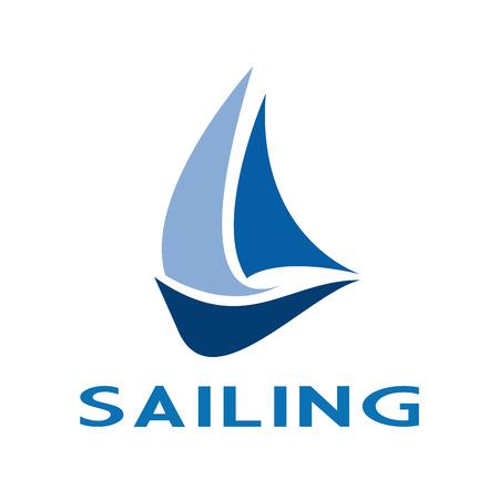 sail boats: Vector sign sailing, boat on the sea