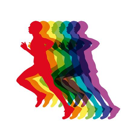 Vector del extracto de los hombres coloridos funcionamiento, maratón