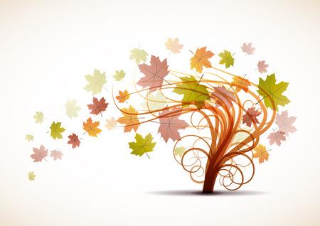 melancholy: Vector dead leaves, autumn background Illustration