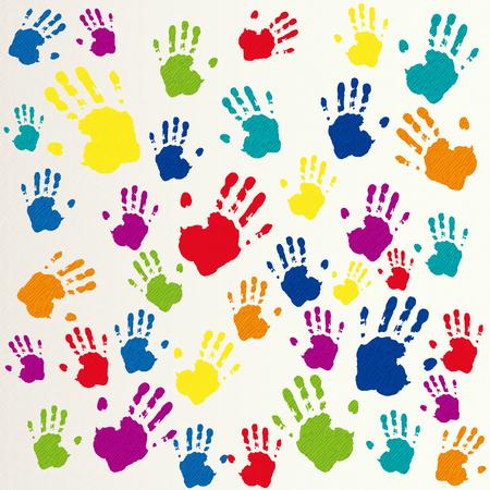 Vector amicizia sfondo, impronte di mani Vettoriali