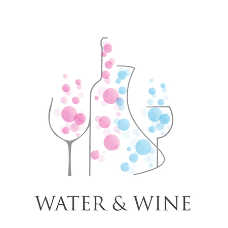 fizzy water: Vector abstract sign wine and  fizzy water Illustration