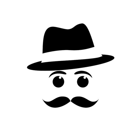virile: vector face mustache and hat