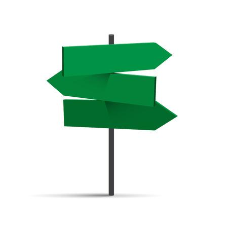 Vector three green road signs Illustration