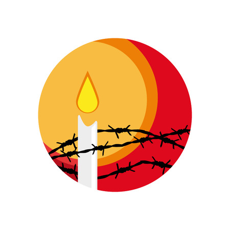 holocaust: Vector barbed wire and candle