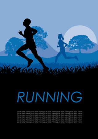 participate: Vector poster runners in the countyside
