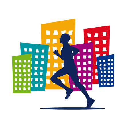 participate: Vector running in the city background