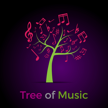 music therapy: Abstract Tree of Music, background Illustration