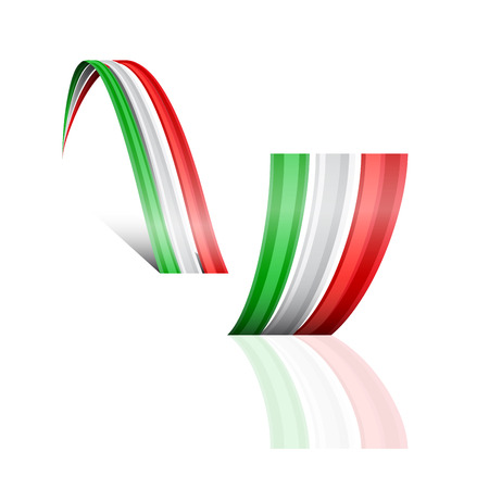 mexican flag: Abstract vector wave italian and mexican flag Illustration