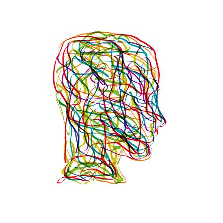 Vector concepto confusión en la cabeza Ilustración de vector