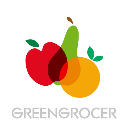 greengrocer: Vector abstract greengrocer. Apple, pear and orange