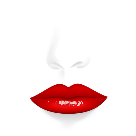 Anonymous portrait. Vector illustration red lips