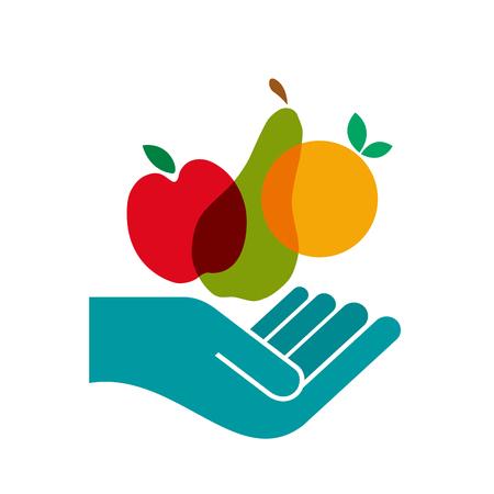 Vector sign Greengrocer. Slow food concept
