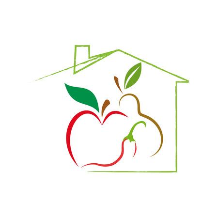 slow food: Vector sign Greengrocer. Slow food concept