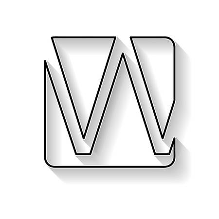 Vector initial letter W. Sign made with black line