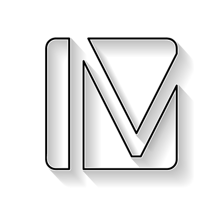 Vector initial letter M. Sign made with black line Illustration