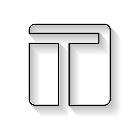 t square: Vector initial letter T. Sign made with black line