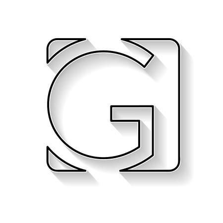 Vecteur initial lettre G. Sign faite avec ligne noire
