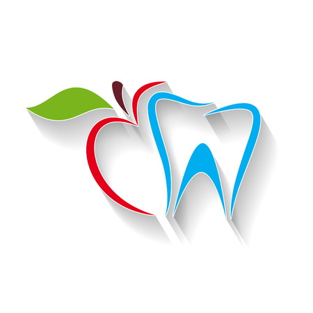 Ilustracje Zarejestruj dentysty. Gryźć jabłko