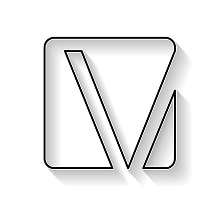 Vector initial letter V. Sign made with black line