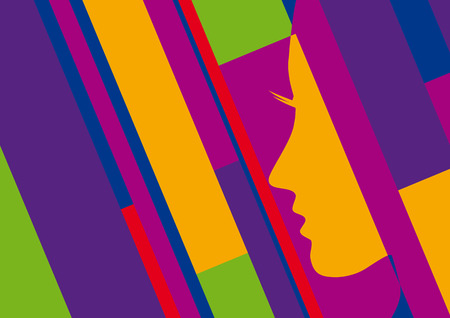 artwork: Abstract geometric artwork, woman profile