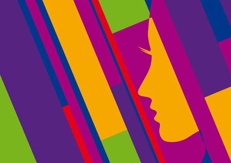 artwork: Abstract geometric artwork, woman profile