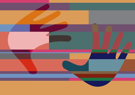artwork: Abstract geometric artwork, open hands