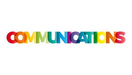 La palabra Comunicaciones. vector de la bandera con el arco iris de colores de texto.