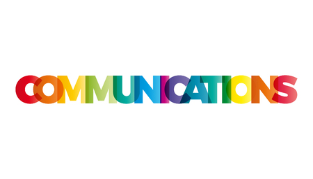 creative communication: The word Communications. Vector banner with the text colored rainbow.