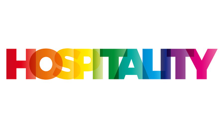 hospitality: The word Hospitality. Vector banner with the text colored rainbow.
