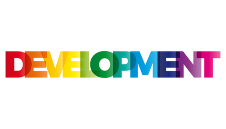 enhancement: The word Development. Vector banner with the text colored rainbow.