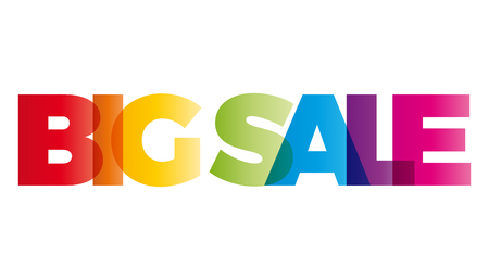 balances: The word Big Sale. Vector banner with the text colored rainbow.