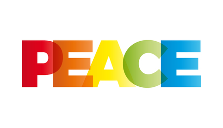 banner of peace: The word peace. Vector banner with the text colored rainbow.