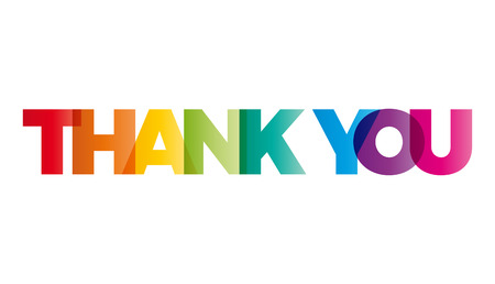 The word Thank you. Vector banner with the text colored rainbow.