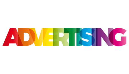 creative communication: The word Advertising. Vector banner with the text colored rainbow.