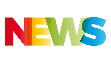 newscast: The word News. Vector banner with the text colored rainbow. Illustration
