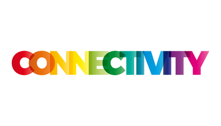 reachability: The word Connectivity. Vector banner with the text colored rainbow. Illustration