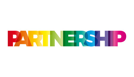 twinning: The word Partnership. Vector banner with the text colored rainbow.