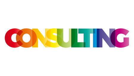 questioned: The word Consulting. Vector banner with the text colored rainbow.