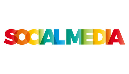 The word social media. Vector banner with the text colored rainbow.