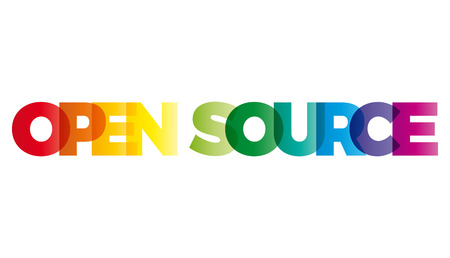 open source: The word Open Source. Vector banner with the text colored rainbow. Illustration