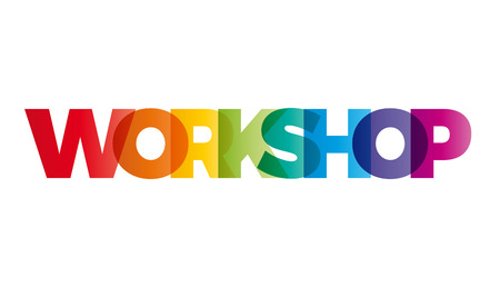 Das Wort-Workshop. Vector Banner mit dem Text farbigen Regenbogen. Standard-Bild - 57937852
