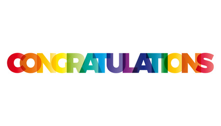 The word Congratulations. Vector banner with the text colored rainbow. Vettoriali