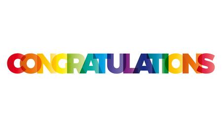 congratulations: Los Felicidades palabra. vector de la bandera con el arco iris de colores de texto.
