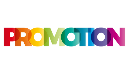 creative communication: The word Promotion. Vector banner with the text colored rainbow.
