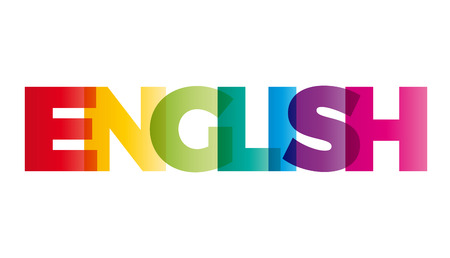 english culture: The word English. Vector banner with the text colored rainbow.