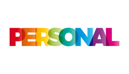 intimate: The word personal;. Vector banner with the text colored rainbow.